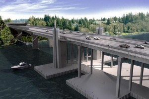 New 520 bridge is two lanes wider than the original.