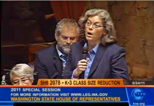 State Rep. Laurie Jinkins, D-Tacoma, leads the scripted colloquoy on the House floor in 2011 that queued up the challenge.