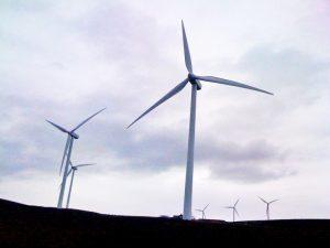 Wind turbines churn in the breeze at a Puget Sound Energy wind farm near Vantage.