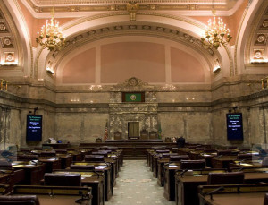 Interior of the Senate chamber, the scene of high drama today as Washington lawmakers open the 2013 legislative session.