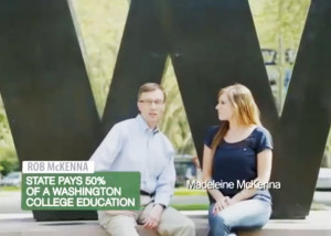 McKenna with daughter Madeleine in first TV ad of campaign: Both were University of Washington student-body presidents.