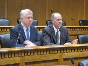 Senate Democratic Leader Ed Murray, D-Seattle, and soon-to-be-installed Senate Majority Leader Rodney Tom appear side-by-side at Thursday's Associated Press legislative preview.