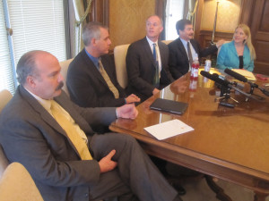 Leaders of the Republican Caucus in the House and the Majority Caucus in the Senate speak with reporters: Rep. Joel Kretz, R-Wauconda, House Minority Leader Richard DeBolt, R-Chehalis, Senate Majority Leader Rodney Tom, R-Bellevue, Senate Republican Leader Mark Schoesler, R-Ritzville, and Sen. Janea Holmquist-Newbry, R-Moses Lake.