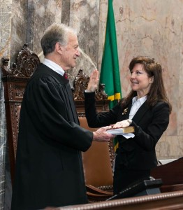 Sharon Brown is sworn in Monday as new senator from the 8th Legislative District.