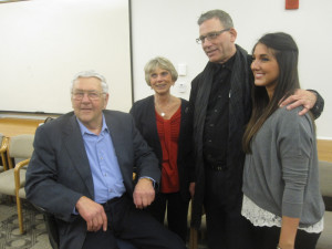 Former Sen. Bob Morton, R-Kettle Falls, says so long at a legislative reception last week. With him are his wife Linda, lobbyist Randy Ray and daughter Randi.