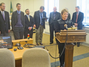 House Transportation Chairwoman Judy Clibborn announces plan at a news conference last week.