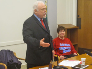 State Sen. Don Benton, R-Vancouver, appears at a news conference alongside Sen. Pam Roach, R-Auburn.