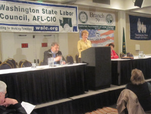 House Transportation Chair Judy Clibborn, D-Mercer Island, addresses the Washington State Labor Council's annual Olympia conference Thursday.