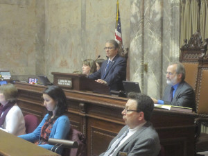 Lt. Gov. Brad Owen presides over Thursday's session in the state Senate.