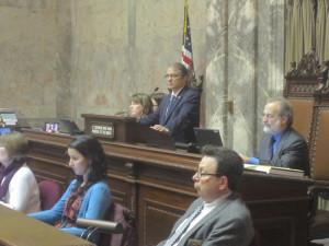 Lt. Gov. Brad Owen presides over Thursday's session in the state Senate.