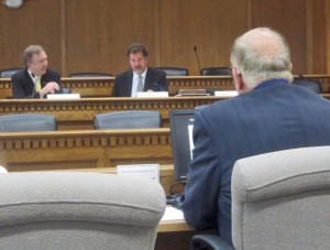 Chairman Doug Ericksen, R-Ferndale and Kevin Ranker, D-Orcas Island, spar during Tuesday's meeting.