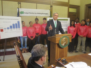 Gov. Jay Inslee rolls out his spending plan, replete with $1.2 billion in new revenue.