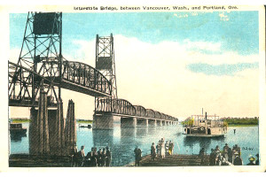Postcard shows original configuration of bridge, and demonstrates that a significant portion of the span was replaced in 1958.
