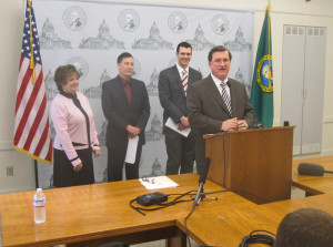 In happier times: On April 2, members of the Senate Transportation Committee rolled out what appeared to be a non-controversial transportation budget. From left, Tracey Eide, D-Des Moines, Steve Hobbs, D-Lake Stevens, Joe Fain, R-Covington and Curtis King, R-Yakima.