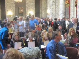 Big crowd turns out for budget announcement.