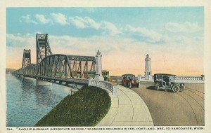 Originally a single span, the bridge was reconstructed as a substantially modified twin span when I-5 went through in 1958.