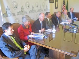 Republican leaders meet with reporters during a media availability Wednesday. From left, Sen. Andy Hill, R-Redmond, Sen. Linda Evans Parlette, R-Wenatchee, Sen. Rodney Tom, D-Medina, Sen. Mark Schoesler, R-Ritzville, Rep. Gary Alexander, R-Olympia, and Dan Kristiansen, R-Snohomish.