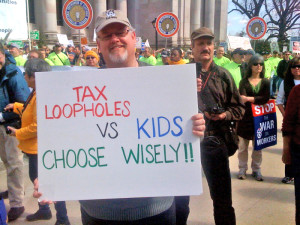 Snapped at the April 2011 labor rally at the Capitol steps.