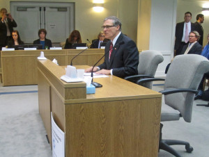 Inslee invests political capital in climate change bill during a Senate hearing in February.