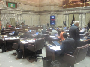 Scene on the Senate floor Saturday as the weekend sessions began to put the pieces in place for a session-ending deal.