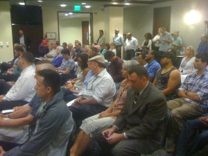 Standing-room-only crowd attests to local interest in measure.