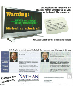 "Schlicher flier accuses Angel's supporters of making a ""misleading"" charge -- yet leaves out a part of a newspaper quote that comes after the word ""but."""