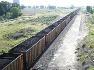 A coal train idles near Worden, Montana