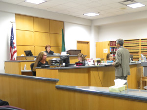 Attorney Knoll Lowney argues in King County Superior Court in one of two hearings held Friday. King County said no, the Court of Appeals said yes.