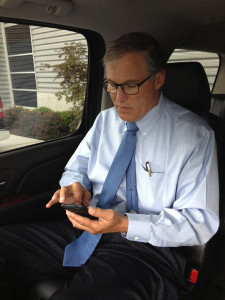 Twittering governor checks in from the road.