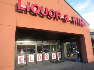 The former state liquor store in Tumwater, facing competition within three blocks from a Costco, a Fred Meyer, an Albertson's and a Walgreen's, closes its doors for good.