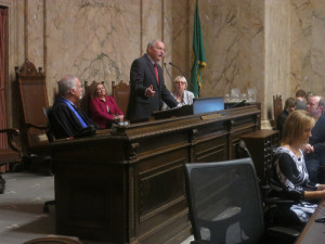 House Speaker Frank Chopp, D-Seattle, makes a rare appearance on the rostrum.