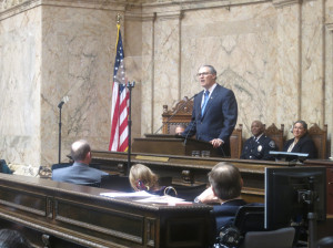 Gov. Jay Inslee addresses a joint session of the House and Senate Tuesday as he delivers his State of the State address.