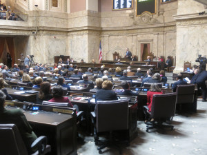 Senators and representatives crowd the House floor for joint session.