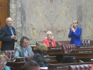 During debate on the Senate floor Wednesday, Sen. Steve Conway, D-Tacoma, and Senate Commerce and Labor Chair Janea Holmquist Newbry, R-Moses Lake, trade barbs over a bill that would expand a workers' compensation settlement program.