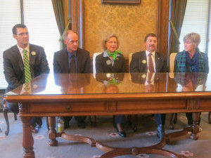 Leaders of the Majority Coalition Caucus hold a post-vote press conference. Right to left, Floor Leader Joe Fain, R-Covington, Majority Leader Rodney Tom, D-Medina, Senate Higher Ed Chairwoman Barbara Bailey, R-Oak Harbor, Republican Leader Mark Schoesler, R-Ritzville and Caucus Leader Linda Evans Parlette, R-Wenatchee.