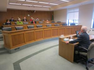 Insurance Commissioner Mike Kreidler testifieds at strange Senate 'shadow hearing' Monday.