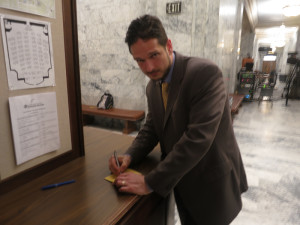 Ezra Eickmeyer of the Washington Cannabis Association works the doors.