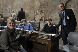 Legislative life: With my sons, Rowan, left, and Trent, right, at the Children's Day floor session of 2011.