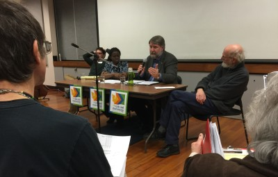 The Forum Panel included Thad Curtz (right), Jeff Johnson. Akua Asare-Kondo and Ben Serrurier.