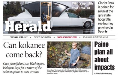 A screen capture of the front page of the Feb. 28 edition of the Daily Herald.