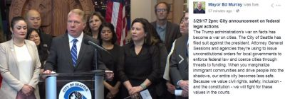Screenshot of a Facebook video from Mayor Ed Murray's office of the Wednesday press conference.