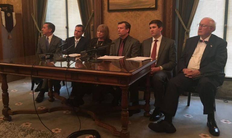 GOP leadership spoke with reporters Tuesday and discussed their own budget and the Democrats' proposed budget. (Photo by Erin Fenner.)