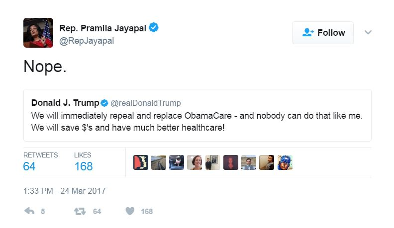 A screencapture of a tweet from Rep. Pramila Jayapal, sent out after House Republicans pulled the AHCA bill.