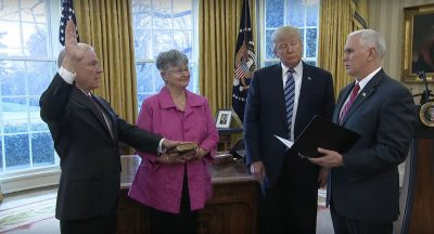 A screenshot of the White House video of the swearing in of U.S. Attorney General Jeff Sessions.