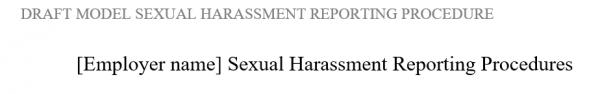 WA Sexual harassment procedure draft