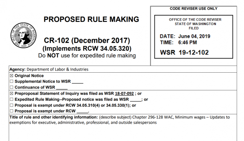 Proposed Washington state rule would restore labor